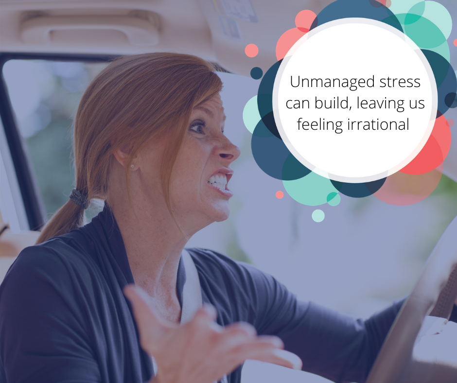 Road rage is an example of unmanaged stress cumulating into explosive reactions at inappropriate moments.